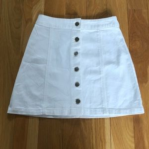 Button-Front Denim Skirt H&M White NWT